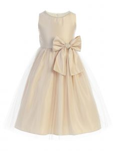 Sweet Kids Big Girls Champagne Satin Tulle Pearl Bow Flower Girl Dress 7-12