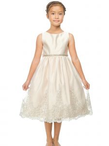 Sweet Kids Big Girls Champagne Metallic Scalloped Lace Flower Girl Dress 7-12