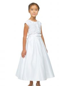 Sweet Kids Big Girls White Lace Crop Satin Pockets Communion Dress 8