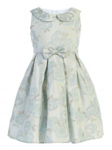 Sweet Kids Big Girls Blue Blossom Collared Jacquard Bow Easter Dress 7-12
