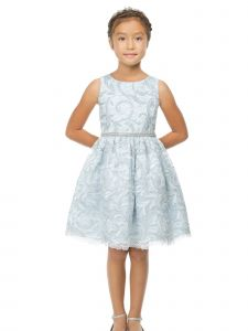 Sweet Kids Big Girls Blue Sequin Rhinestone Adorned Lace Easter Dress 7-16
