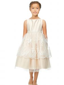 Sweet Kids Big Girls Champagne Lace Peplum Junior Bridesmaid Dress 7-12