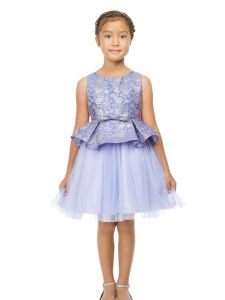 Sweet Kids Big Girls Lilac Floral Metallic Jacquard Peplum Easter Dress 7-12
