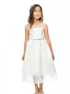 Sweet Kids Big Girls Ivory Scalloped Lace Tulle Flower Girl Dress 7-12