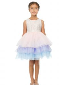 Sweet Kids Little Girls Pink Multi Lace Top Tiered Layer Tutu Easter Dress 2-6
