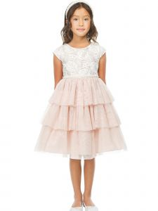 Sweet Kids Big Girls Blush Lace Tiered Mesh Pearl Adorned Easter Dress 7-12
