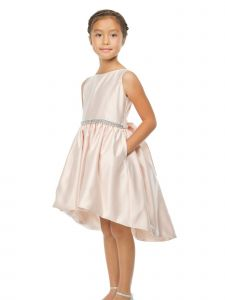 Sweet Kids Big Girls Blush Shiny Satin Hi-Low Cocktail Easter Dress 7-16