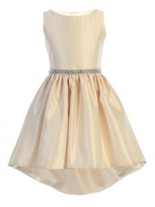 Sweet Kids Little Girls Champagne Shiny Satin Hi-Low Cocktail Easter Dress 4-6