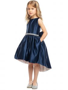 Sweet Kids Girls Shiny Satin Hi-Low Special Occasion Dress 4-16