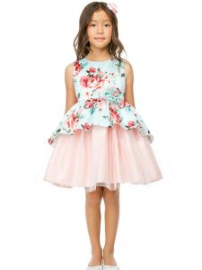 Sweet Kids Big Girls Mint Floral Print Peplum Tulle Easter Dress 7-12