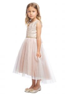 Sweet Kids Girls Embroidered Tulle Overlay Rhinestone Christmas Dress 6M-16