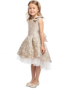 Sweet Kids Girls Floral Brocade Tulle Underlay Bow Christmas Dress 2T-12
