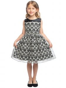 Sweet Kids Girls Detail Overlay Tea Length Christmas Dress 2T-12
