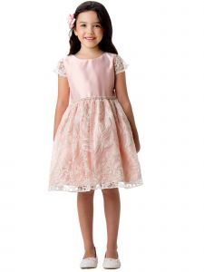 Little Girls Petal Pink Embroidered Lace Double Pearl Waist Easter Dress 2-6