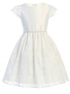 Big Girls Off White Embroidered Lace Double Pearl Waist Easter Dress 7-12