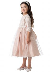 Sweet Kids Little Girls Blush Vintage Lace Floral Patch Easter Dress 2-6