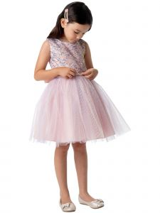 Sweet Kids Big Girls Petal Pink Sequin Mesh Crystal Tulle Easter Dress 7-12