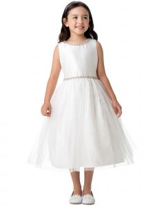 Little Girls Off White Satin Jewel Trim Crystal Tulle Flower Girl Dress 2-6