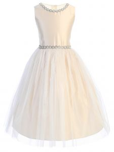 Little Girls Champagne Satin Jewel Trim Crystal Tulle Flower Girl Dress 2-6