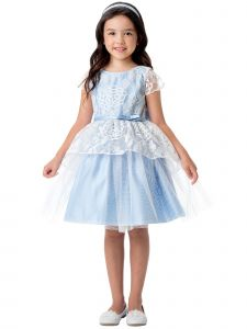 Sweet Kids Big Girls Light Blue Chrysanthemum Lace Peplum Easter Dress 7-12