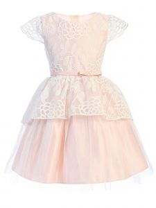 Sweet Kids Big Girls Petal Pink Chrysanthemum Lace Peplum Easter Dress 7-12