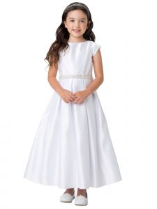 Sweet Kids Big Girls White Pleated Satin Pocketed Communion Dress 7