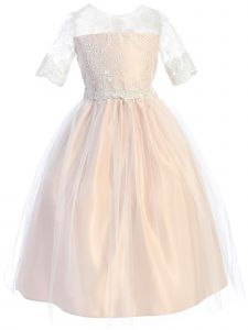 Big Girls Blush Sequin Lace Floral Waist Trim Junior Bridesmaid Dress 7-16
