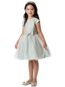 Sweet Kids Little Girls Sage Floral Jacquard Multi Tone Tulle Easter Dress 2-6