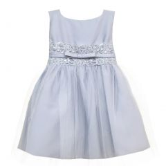 Sweet Kids Baby Girls Silver Satin Lace Bow Tulle Flower Girl dress 6-24M