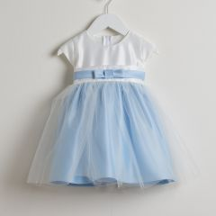 Sweet Kids Baby Girls Blue Satin Tulle Easter Special Occasion Dress 6-24M