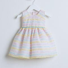 Sweet Kids Baby Girls Pink Stripe Organza Easter Special Occasion dress 6-24M