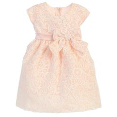 Sweet Kids Baby Girls Petal Pink Embroidered Organza Easter Dress 9-24M