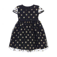 Sweet Kids Baby Girls Black Gold Polka Dotted Overlay Occasion Dress 6-24M