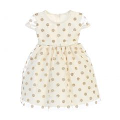 Sweet Kids Baby Girls Ivory Gold Polka Dotted Overlay Occasion Dress 6-24M