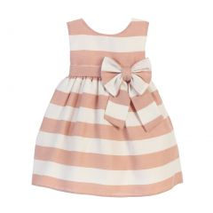 Sweet Kids Baby Girls Sand White Stripe Ribbon Accent Occasion Dress 6-24M