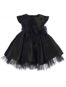 Sweet Kids Baby Girls Black Full Pleated Satin Bow Flower Girl Dress 6-24M