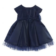 Sweet Kids Baby Girls Navy Satin Full Pleated Bow Accent Christmas Dress 6-24M