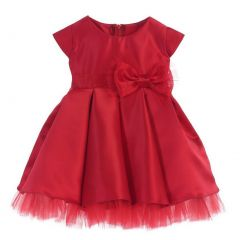 Sweet Kids Baby Girls Red Satin Full Pleated Bow Accent Christmas Dress 6-24M