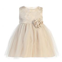 Sweet Kids Baby Girls Beige Floral Jacquard Crystal Tulle Easter Dress 6-24M