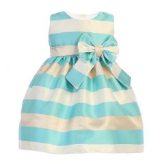 Sweet Kids Baby Girls Turquoise Gold Champagne Satin Stripe Easter Dress 6-24M