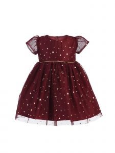 Sweet Kids Baby Girls Burgundy Gold Star Dot Soft Mesh Christmas Dress 6-24M