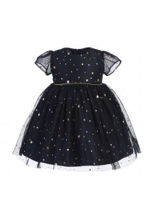 Sweet Kids Baby Girls Navy Gold Star Dot Soft Mesh Christmas Dress 6-24M