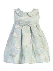 Sweet Kids Baby Girls Blue Blossom Collared Jacquard Bow Easter Dress 12M