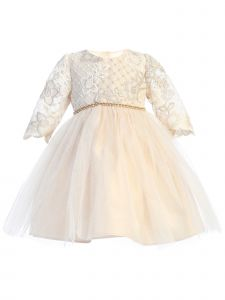 Baby Girls Champagne Lattice Embroidered Lace Flower Girl Dress 6-24M