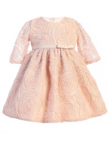 Sweet Kids Baby Girls Blush Rosette Mesh Satin Belt Easter Dress 6-24M
