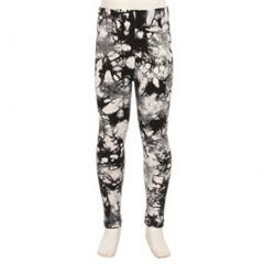 Girls Black White Tie Dye Spotted Pattern Stretchy Trendy Leggings 6-12