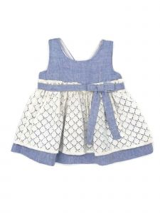 Coquelicot Little Girls Blue White Lace Sophia Blonda Lino Azzuro Dress 2-5T
