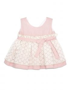Coquelicot Little Girls Pink Lace Linen Sophia Blonda Lino Dolce Dress 2-5T