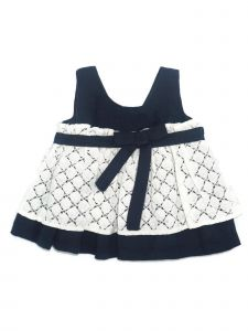 Coquelicot Little Girls Navy Lace Linen Bow Sophia Blonda Lino Dress 2-5T