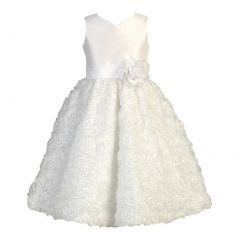 Lito Big Girls White Shantung Ribbon Sequin Tulle Communion Dress 6-14